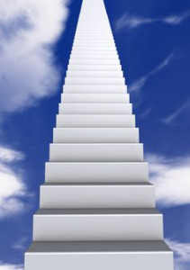 White stair in the blue sky with clouds. 3d illustration.